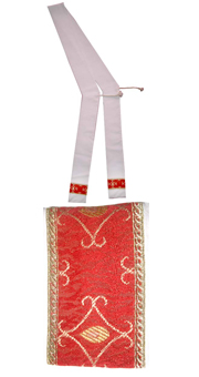 White stole for deacon- red stripe