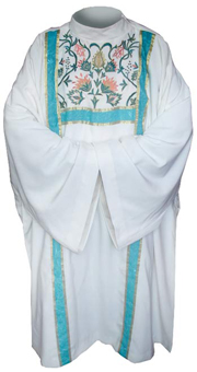 White dalmatic- flowers decoration