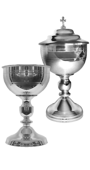 Chalice and Ciborium (pewter style)