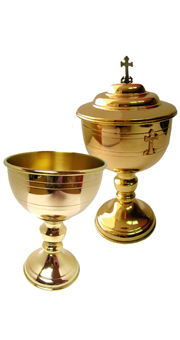 Chalice and ciborium (gold plated)