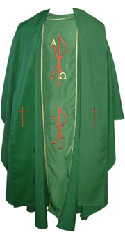 Green chasuble with Stole