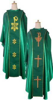 Green Chasulbe with Reversible Underlay Stole